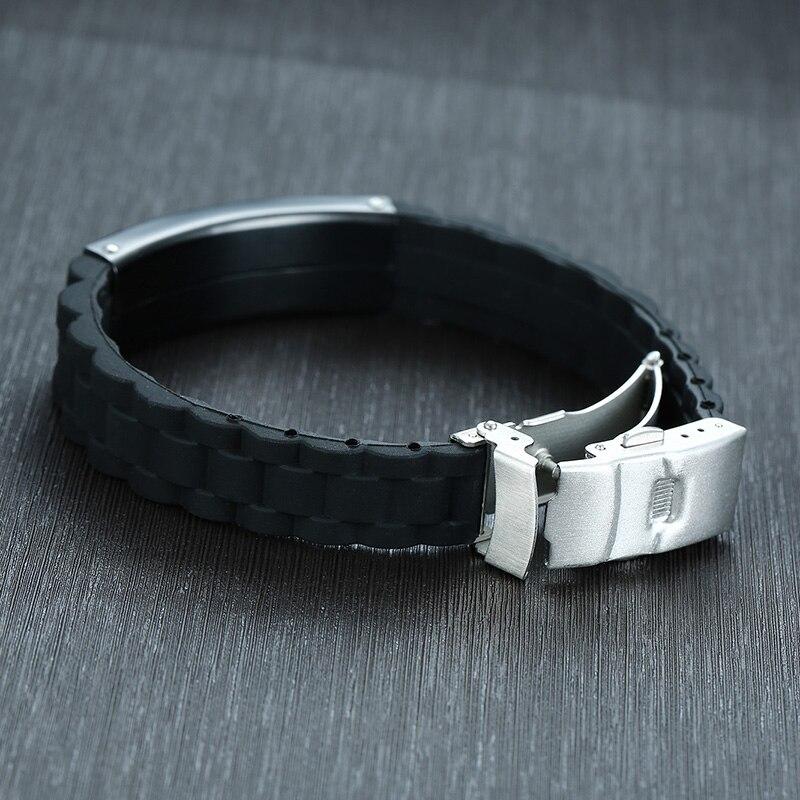 Image 3 - Мужской браслет с гравировкой, черный силиконовый браслет на  нескольких языках, на немецком, французском, ивритеID браслеты   -
