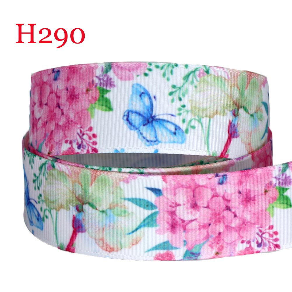 "5 yards Pink /& aqua floral printed 7//8/"" grosgrain ribbon by the yard"