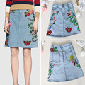 Free Shipping 2016 Washed Blue Florals Snake Embroidery Denim A Line Women's Skirts High End Brand  Cowgirl  92003