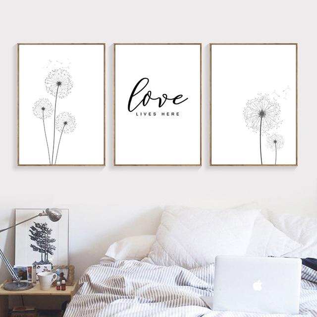 Black White Poster Dandelion Print Canvas