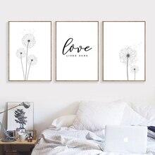 Nordic Minimalist Black White Poster Dandelion Print Love Quote Canvas Painting Scandinavian Art Picture Modern Home Decor AL078