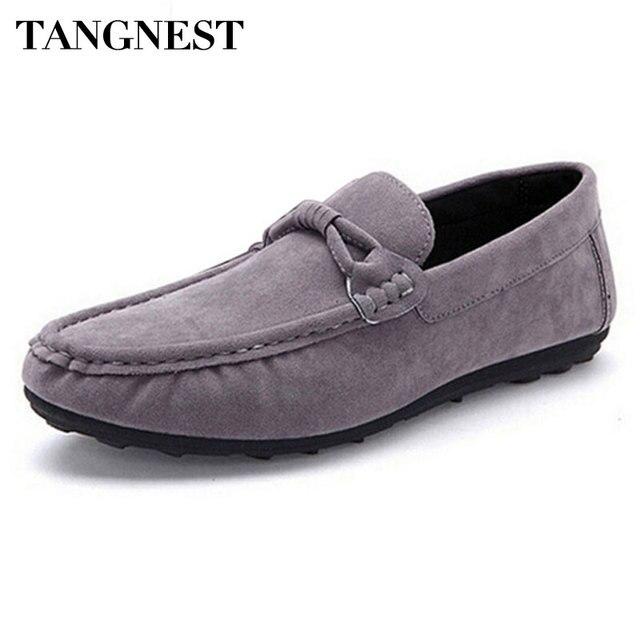 14064f14aed0 Tangnest Casual Sangle Hommes Appartements Doux Troupeau En Cuir Hommes  Mocassins Classique Slip-on Chaussures