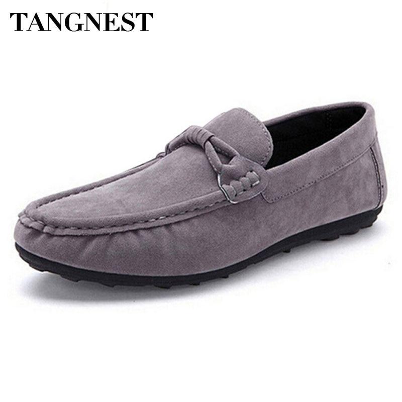 Tangnest Casual Strap Män Lägenheter Mjuk Flock Läder Män Loafers - Herrskor