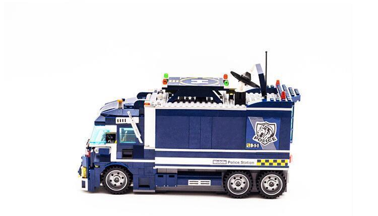 Enlighten 2017 NEW 951Pcs City Series Mobile Police Station Helicopter Model playmobil Building Blocks Bricks Toys for children