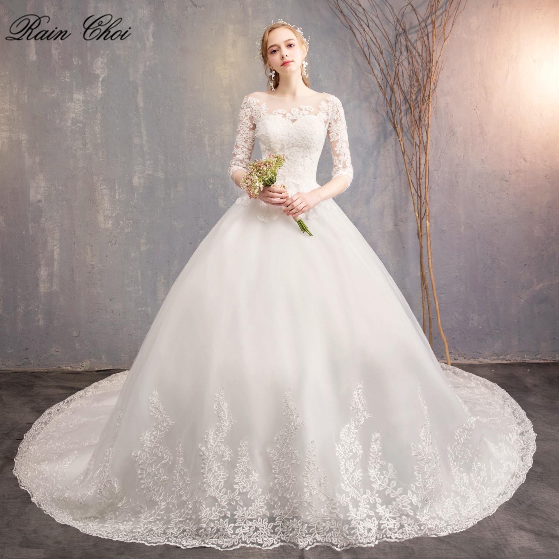 Vintage Wedding Dresses 2019 Lace Half Sleeve O Neck Plus