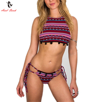 Ariel Sarah High Neck Bikini Floral Print Swimsuit Sexy Swimwear Lace Bikini Set Tassel Bathing Suit