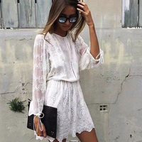 New Sexy lace spaghetti backless jumpsuit romper Women hollow out overalls Summer 2018 long sleeve white silk playsuit bodycon
