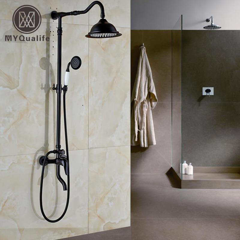 Oil Rubbed Bronze Rainfall 8 Round Shower Head Bath Tub Shower Faucet Set with Handshower + Tub Spout Single Handle