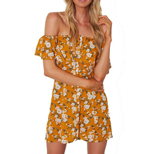 Nova moda feminina beach dress moda floral imprimir ruffles manga curta strapless mini mulheres summer dress casual vestidos(China)
