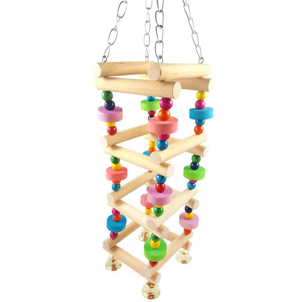 1 Stück Bunte Perlen Natürliche Holz Leiter Stehen Papagei Vogel Klettern Kauen Spielzeug Mit Glocke Grade Produkte Nach QualitäT