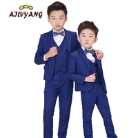5pcs Boys Formal Wedding Suits Sets Children Blazer Vest shirts pants bowtie Outfits Kids Prom Performance Tuxedo Clothing Sets