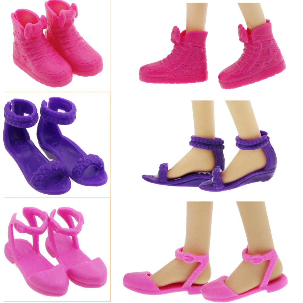 3 Pair Students Cute Style Summer Flats Sandals Shoes Boots for Barbie Doll Clothes Dress Accessories Kids Gift Toy