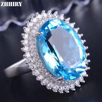 ZHHIRY Genuine Natural Blue Topaz 925 Sterling Silver Gemstone Ring For Women Big Rings Real Precious