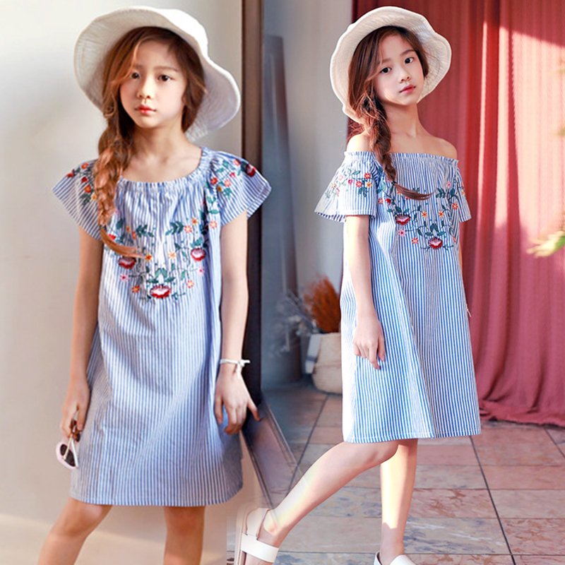 Girls Off Shoulder Dress 2018 Summer Style Striped Dress Teenage Girls Fashion Cotton Embroidered Dress Girls Clothes Sukienka retail teenage girls off shoulder dress kids girls dresses summer 2017 tutu patched dress summer style black pink