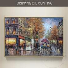 Большой Настенный декор, ручная роспись, высокое качество, Современная Парижская уличная сцена, картина маслом, ручная работа, настенная живопись, уличная масляная живопись