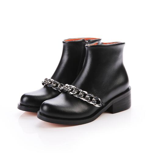Hot Selling Black Leather rhinestone Women Ankle Boots Winter Square Heel Round Toe zip High Quality Shoes only true love women ankle boots full grain leather high square heel round toe shoes woman black