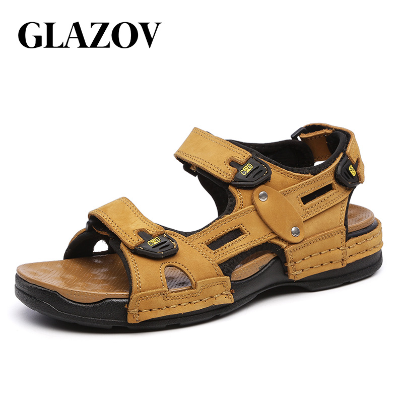 GLAZOV High Quality Summer Men Sandals Real Leather NonSplit Soft Comfortable Men Shoes New Fashion Men Casual Shoes Size 39~44GLAZOV High Quality Summer Men Sandals Real Leather NonSplit Soft Comfortable Men Shoes New Fashion Men Casual Shoes Size 39~44