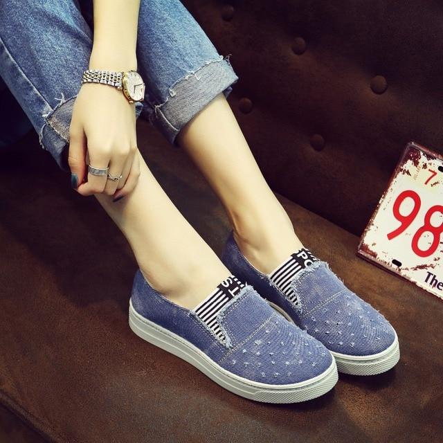High Quality Women's Jeans Shoes flats Fashion Casual Denim Shoes Soft Soles Students Canvas Shoes Breathable Orientpostmark