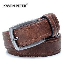 Cinturón de cuero Vintage para hombre, cinturón de cuero dividido de lujo, cinturón famoso para hombre, cinturones de diseño con estilo Vintage
