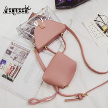 AEQUEEN Female Transparent PVC Handbags Women Composite Bags Set Clear Small  Flap Crossbody Bag Ladies Totes f6cdd4fbbf97a