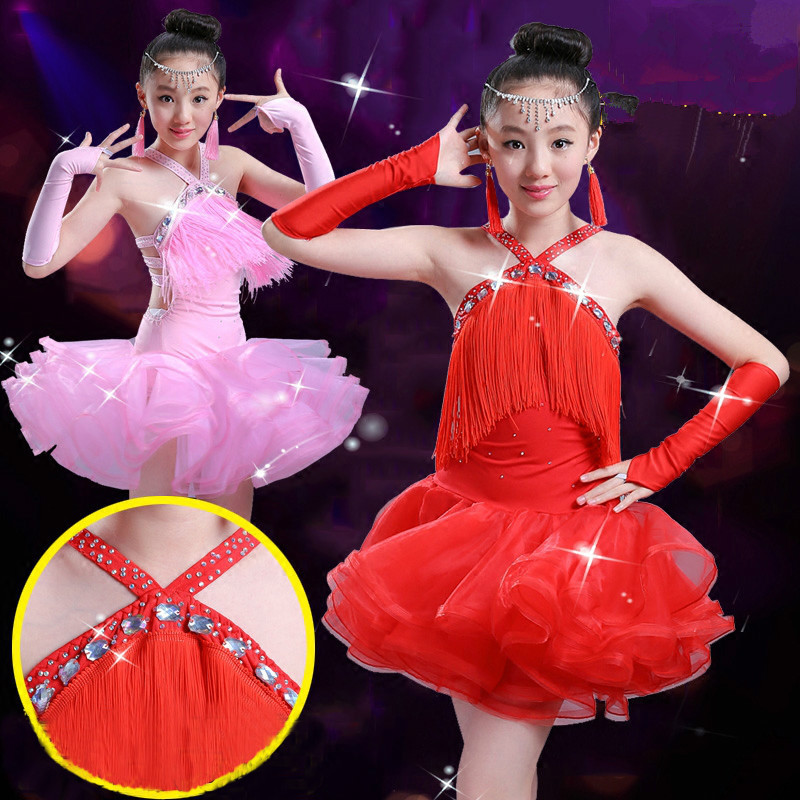 New Children Latin Dance Dress for Competition Kids Tassel Ballroom Dancing Dresses Girls Dress Gymnastics Practice Dance Wear 9