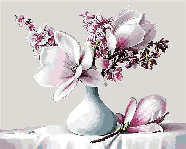 Lily Bunga Di Vas Putih Biru Lukisan Cat Minyak Lukisan Dengan Angka