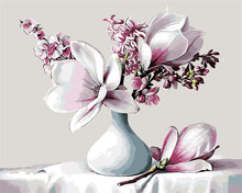 lily flowers in white vase blue oil Painting picture By Numbers Drawing coloring by numbers DIY drawing living room decoration