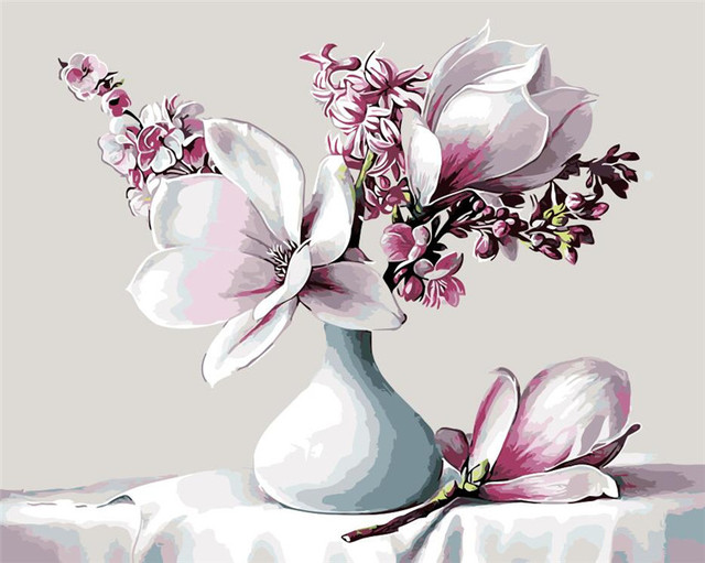 Lily Flowers In White Vase Blue Oil Painting Picture By Numbers