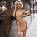 2017 New Winter Dress Women Long Sleeve O-Neck Luxury Evening Party Girl Appliques Sequin Dress Sexy Christmas Lady Wholesale