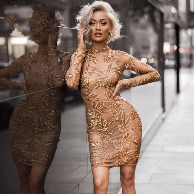 2018 Newest Summer Dress Women Celebrity Party Long Sleeve O-Neck Sexy Mesh  Appliques Night Out Dress Women Wholesale Vestidos 394b5897fe7a