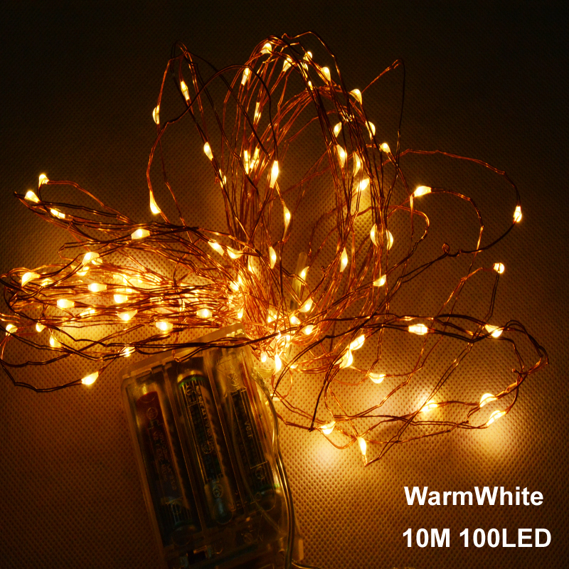 splevisi 10m 33ft 100 led 3aa battery powered led copper wire string lights for christmas festival - Outdoor Led String Lights