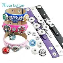 P00847 Newest Snap Button Bracelet&Bangles High quality Charms PU Bracelets For Women Fit 18mm DIY Rivca Snap Button Jewelry(China)
