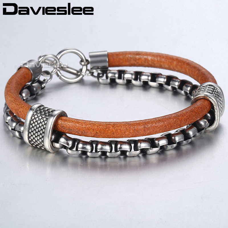 Davieslee Mens Leather Bracelet Stainless Steel Chain Box TO Buckle Clasp Brown Fashion Bracelets For Men Dropshipping LDLB70