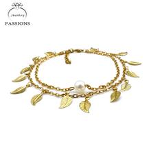 Fashion Gold Plate Foot Anklet Ladies Anklets Bracelet Chain Tassel Double Layers Anklet Bracelet Foot Pulsera Jewelry For Women