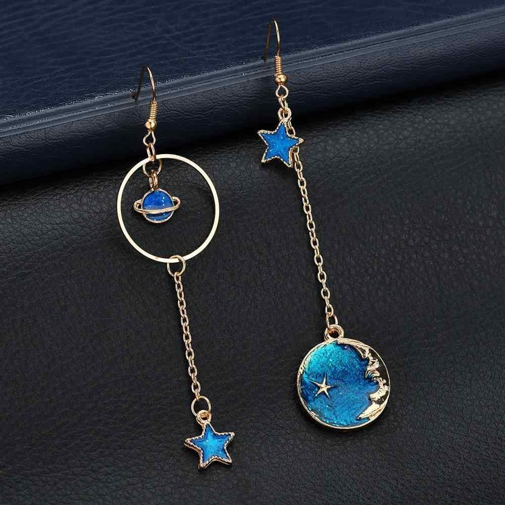 ใหม่เกาหลีน่ารัก Blue Star Moon ต่างหูยาวสตั๊ดสำหรับผู้หญิงไม่สมมาตรจรวดเครื่องบิน Planet ต่างหูหญิงสาวของขวัญ Brinco
