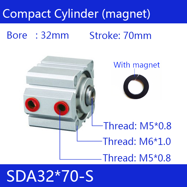 цена на SDA32*70-S Free shipping 32mm Bore 70mm Stroke Compact Air Cylinders SDA32X70-S Dual Action Air Pneumatic Cylinder