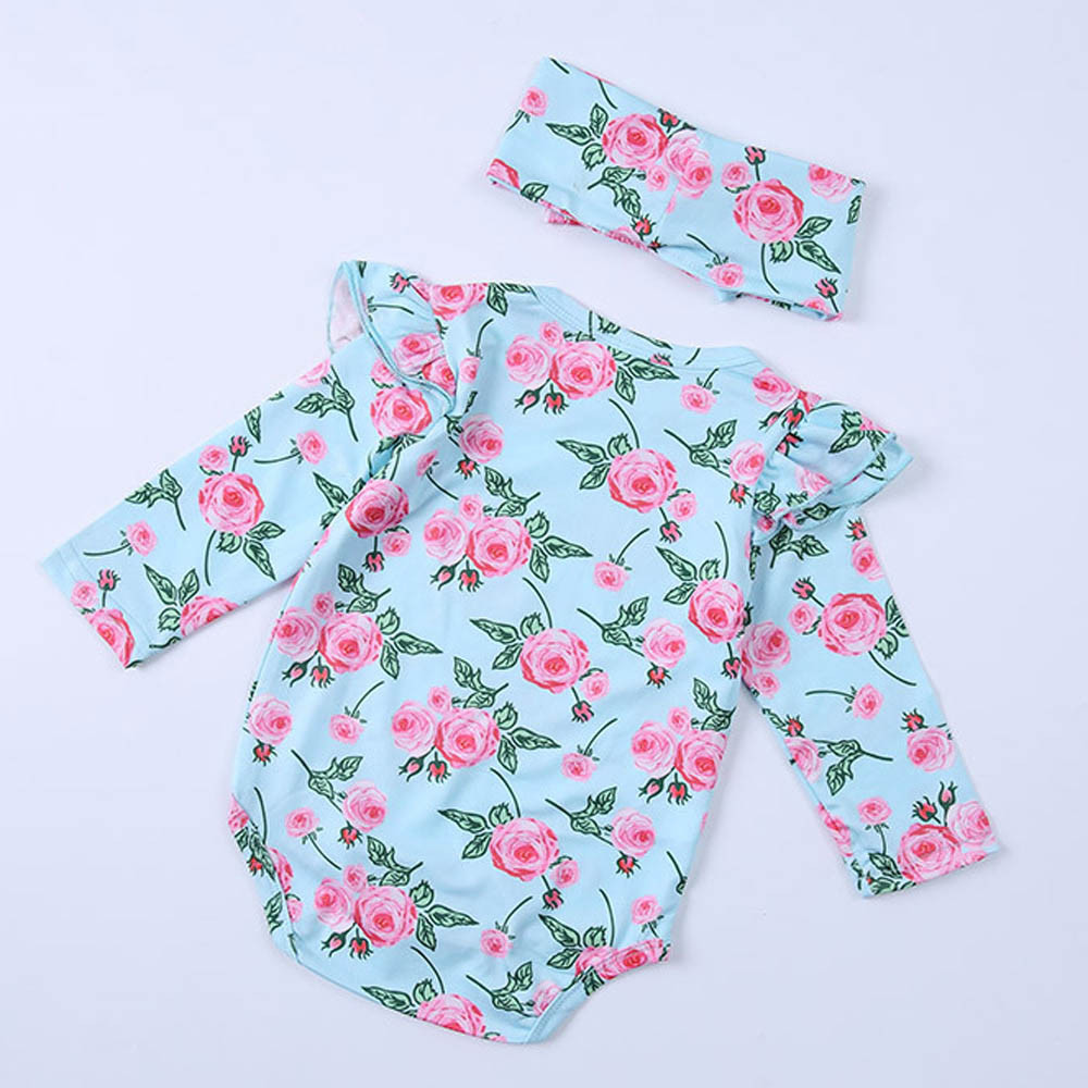 Infant Baby Girls Floral Printed Long Sleeve Romper +Headband Jumpsuit Outfit Oct 9
