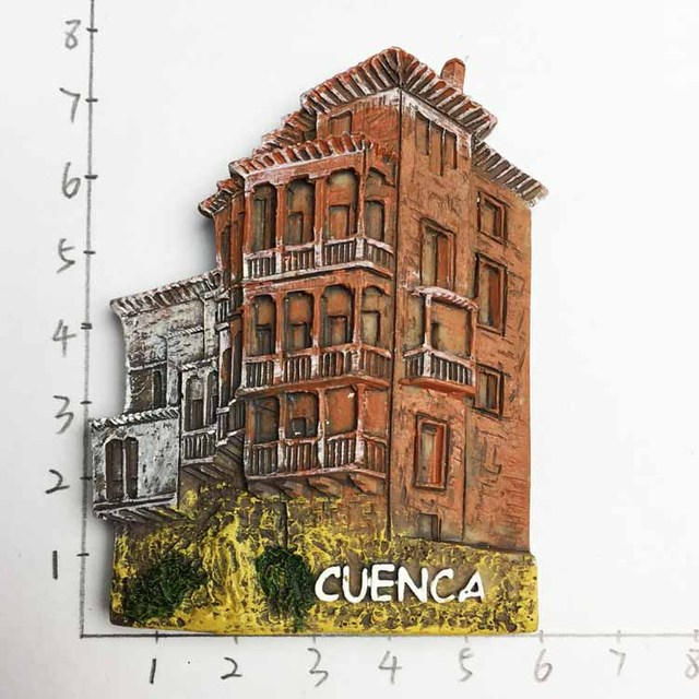 Spain Cuenca Cliff Hanging Houses Tourism Souvenirs Three