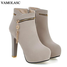 Фотография VAMOLASC New Women Autumn Winter Warm Faux Suede Ankle Boots Zipper Square High Heel Boots Platform Women Shoes Plus Size 34-43