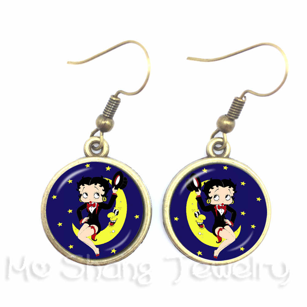 Sexy Hyperbole Betty Boop Series Pattern 16mm Round Glass Cabochon Handmade Dangle Earrings For Glamorous Women Girls Gift