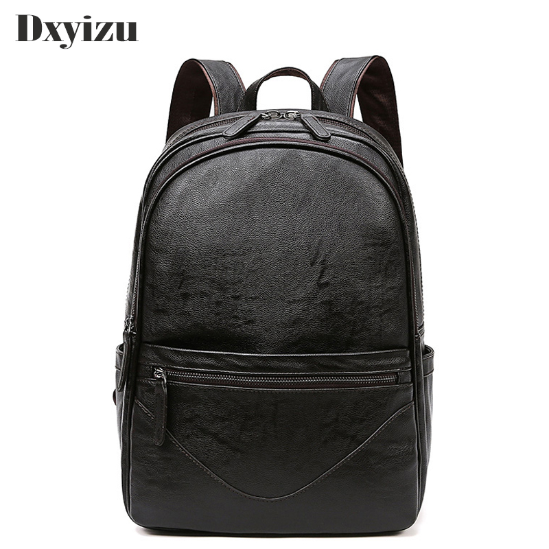 High Quality Vintage Casual Leisure Student Bag Soft Real Leather Sheepskin Laptop Men Backpack Male Teenager School Travel Bags