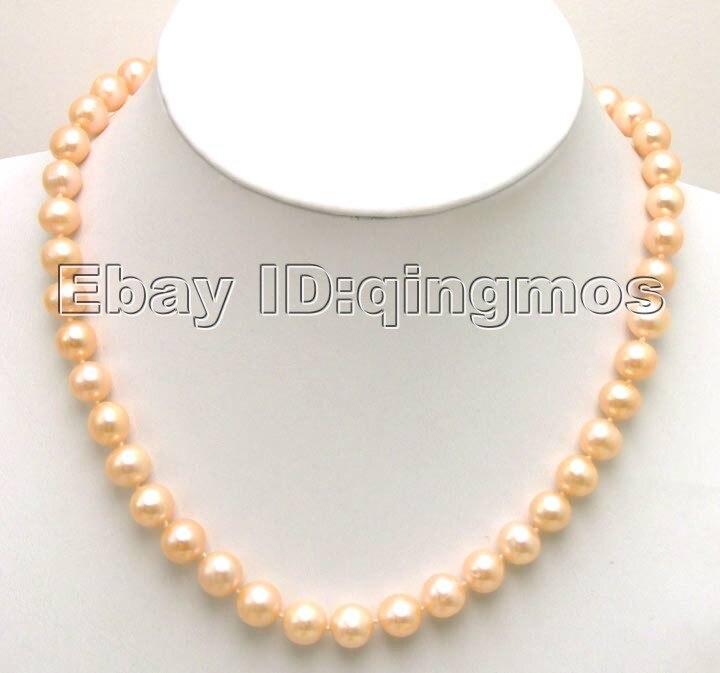 Haute Brillance! Collier de perles rondes d'eau douce rose AA 9-10mm avec fermoir GP-5285