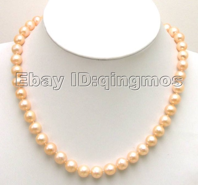 High Luster! AA 9-10mm pink Freshwater Round Pearl necklace with GP CLASP-5285