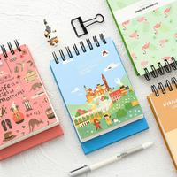 Kawaii Cartoon Flamingo Travel Tower Weekly Planner Coil Notebook Agenda Filofax For Kids Gift Korean Stationery