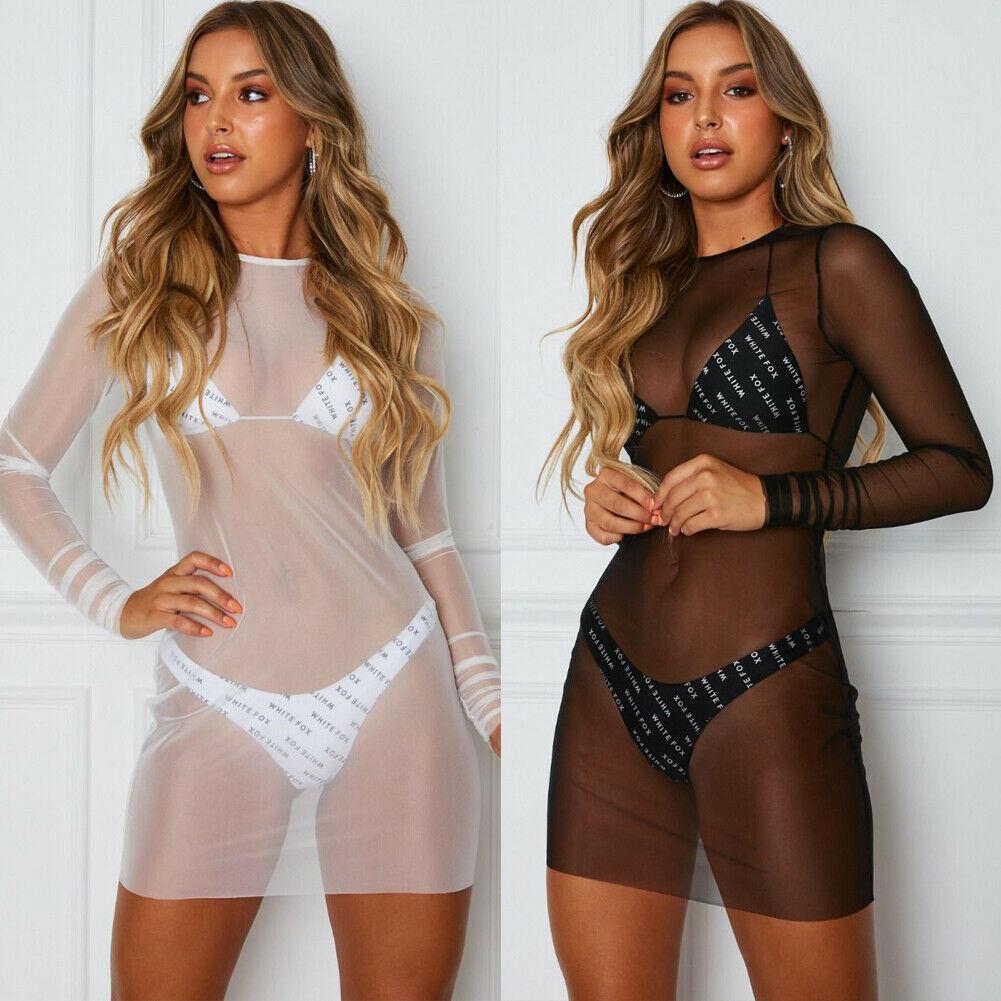 Women Ladies Bikini Cover Up Bathing Suit Lace   Mesh Crochet Swimwear Beach Dress Bikini Cover Up Bathing Suit