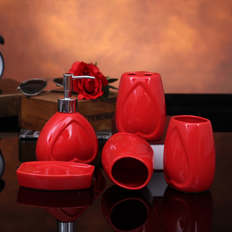 Charmant Red Glaze Love Five Piece Ceramic Bathroom Set Bathroom Accessories Wedding  Gifts
