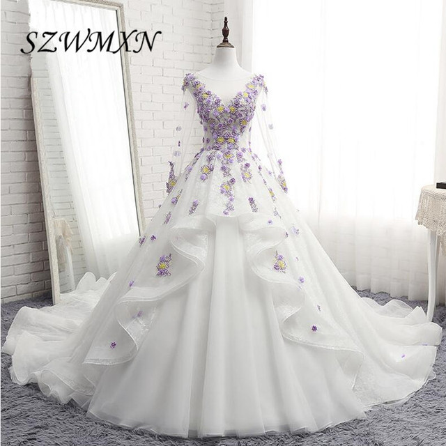 Sexy V Neck Ball Gown Wedding Dresses 2017 Real Photo 3D Floral Handmade Flowers Tulle Long