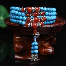 Nueva moda 6 mm azul turquesa bolas de piedra tibetano budista 108 granos de rezo de calabaza collar de mala oración pulsera para meditación