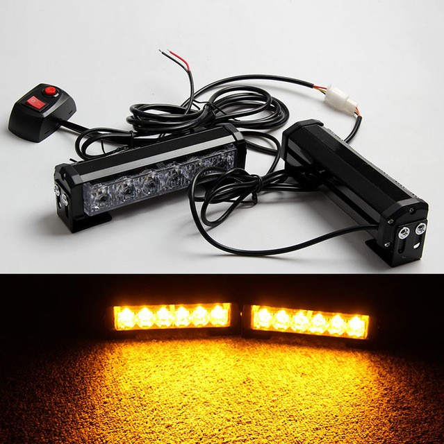 09011 2x6LED Car Strobe Flash Light Modes Auto Warning Light 12W High Power Caution Lamp