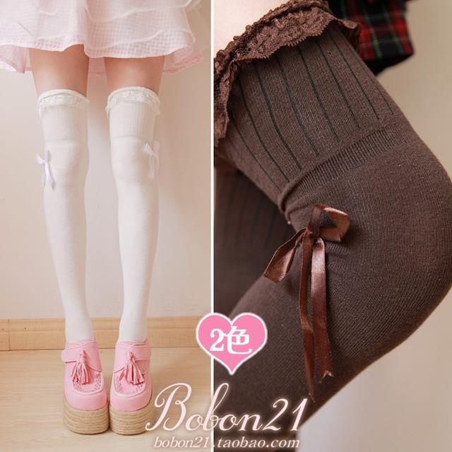 Princesa dulce lolita medias decoración del cordón del arco lateral de La Cinta sobre la rodilla spank HARAJUKU cálido muslo blanco y marrón CTW5-1
